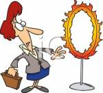 0511-0703-0618-4449_Unsure_Businesswoman_Looking_a_Flaming_Circus_Hoop_clipart_image
